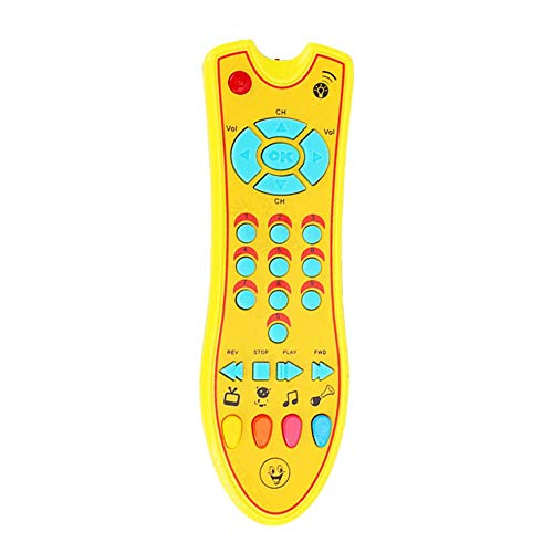 DREAMT Music TV Remote Control Toy for Kids, Lights Sounds Early Educational Preschool Learning Toys for Boys & Girls Birthday Gifts(Yellow)