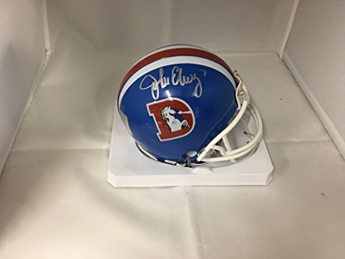 John Elway Autographed Helmet - John Elway Signed Autographed Denver Broncos Throwback Mini Helmet Elway Player Hologram