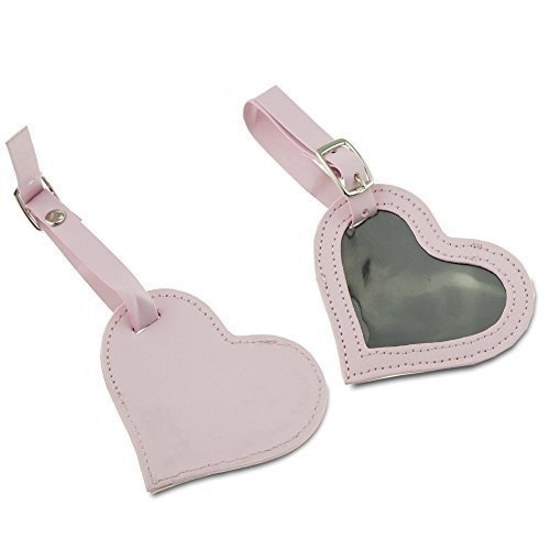 4 Luggage ID Identification Tags Pink Leather Heart for suitcase carry on handbag backpack gift for woman girl wife vacation (Handbag Tag)