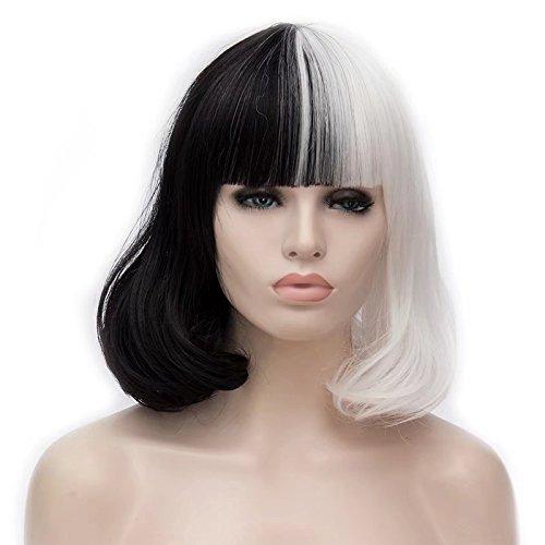 - COSPLAZA Short BOB Style Natural Loose Wave Flat Bangs Black White Heat Resistant Hair Cosplay Wigs