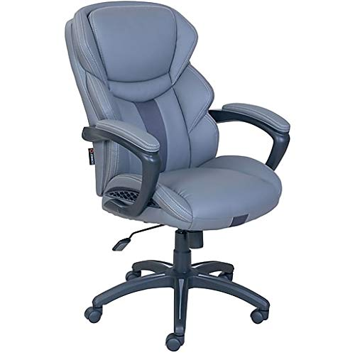 Dormeo Espo Octaspring Bonded Leather Managers Office Chair, Fixed Arms, Gray (47055) Gray/Silver