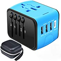 Travel Adapter,Universal Travel Adapter,All-in-one International USB Travel Adapter with High Speed 2.4A 4-port USB Charger Worldwide AC Wall Outlet Plugs for For business travel of US,EU,UK,AU 200 (Blue)
