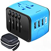 Travel Adapter,Universal Travel Adapter,All-in-one International USB Travel Adapter with High Speed 2.4A 4-port USB…