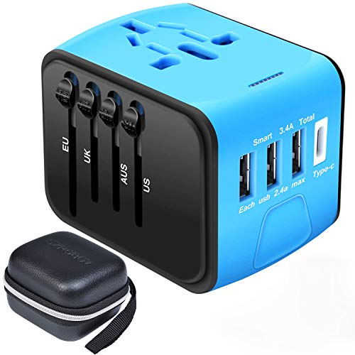 America Standard Adapter - CSCD Travel Adapter,All-in-one International USB Travel Adapter with High Speed 3.0 Type C+3-Port USB Worldwide AC Wall Outlet Plugs for for Business Travel of US, EU, UK, AU 200+