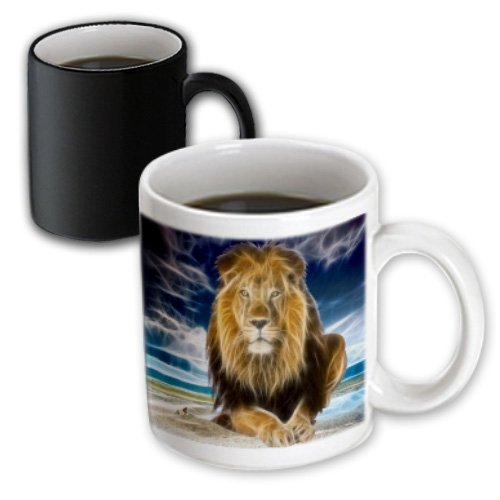 3dRose Mug King of the jungle, stunning lion on the prairie with digital affects (mug_167119_3) - 11oz - Transforming, - Rose Prairie Cup