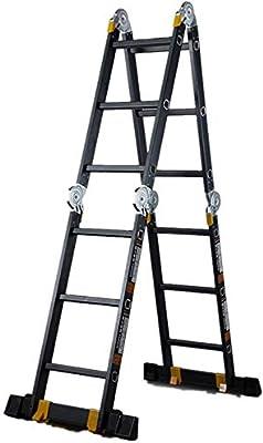 Escaleras telescópicas de marco Fácil empuja hacia arriba la operación de extensión de aluminio plegable portátil General Perfil Inicio telescópica Escalera Escalera Ideal Escalera telescópica con blo: Amazon.es: Hogar