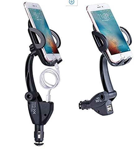 Zhaoyun Car Phone Mount 3 in 1 Car Mount Universal Phone Holder with Dual USB Cigarette Lighter Charger for (12 V Prius Outlet)