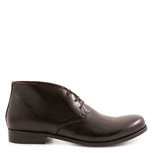 Leonardo Scarpe In Pelle Nera Degli Uomini 25804papuanero Desert Boots