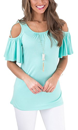 PinUp Angel Ruffle Open Shoulder Blouse for Women Summer Loose Casual Short Sleeve Shirt (Blouse Angel)