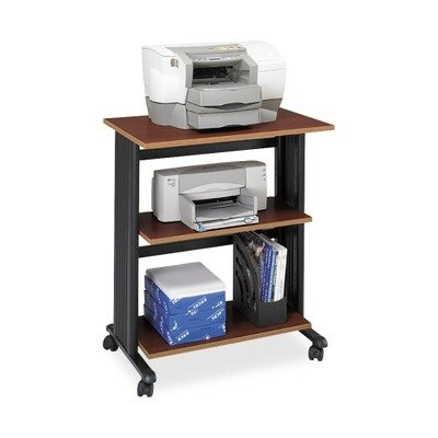 Y Muv Three Level Adjustable Shelf Printer Machine Stand, Cherry/Black (Three Adjustable Steel Shelves)