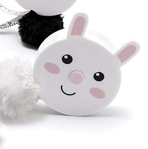 Cat Tape Measure - Cute Animal Retractable Tape Measures - with Fluffy Pom-Pom Tail and Lanyard Hole (Bunny Rabbit)