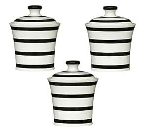 3 piezas para almacenaje de alimentos juego de porcelana con diseño de rayas