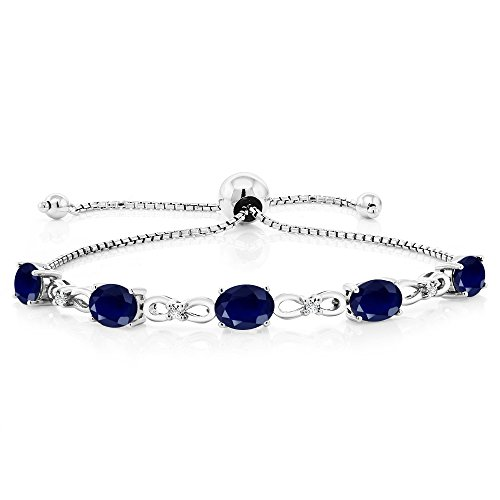 925 Sterling Silver Adjustable Diamond Tennis Bracelet 5.10 ct Oval Sapphire (Sapphire Si1 Bracelet)