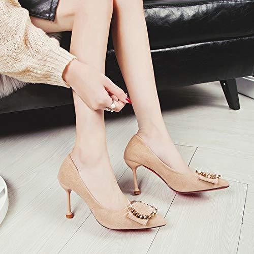 Club Zapatos Alto Albaricoque Hebilla Punta con de tacón de de de Zapatos tacón Nocturno de DANDANJIE Zapatos tacón de Mujer de Metal Aguja de Alto Ya44SB