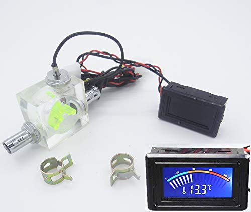 LED Thermometer 3 Way Flow Meter FlowMeter For Water Cooling Liquid Cooler System & 2 Barbs