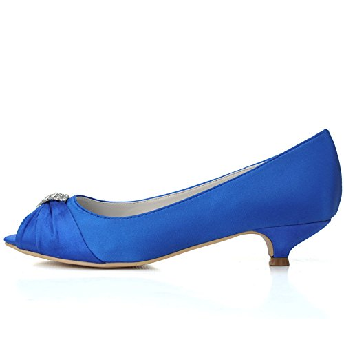 RUGAI-UE Women Heel Pump Shoes Sandal Precious Stones Clip,Blue,US9/EU40/UK7 (Clip Shoe Stone)
