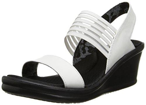 (Skechers Cali Women's Rumblers Sci Fi Wedge Sandal,White,6.5 M US)