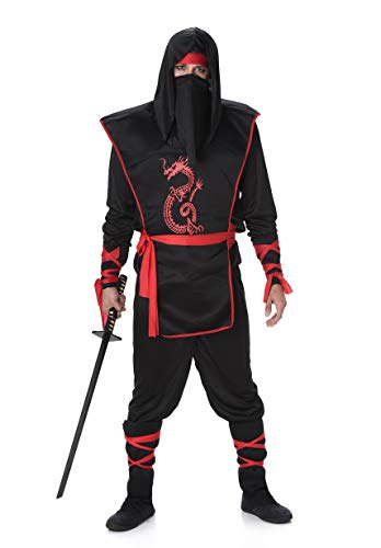 Black Red Ninja Costume Set - Halloween
