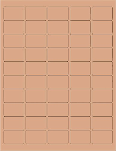 (12 SHEETS) 600 1x1-1/2 INCH BROWN KRAFT STICKERS FOR LASER /INKJET PRINTERS, BLANK - SIZE: 8-1/2