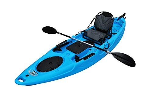 BKC UH-RA220 11.5 foot Riptide Angler Sit On Top Fishing Kayak with Paddles and Upright Chair and Rudder System Included (Sky Blue)