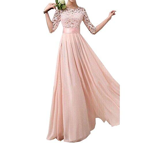 Women Crochet Half Sleeve Crochet Lace Top Wedding Bridesmaid Gown Prom Dress (L, Pink)
