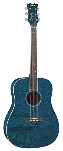 Dean AX DQA TBL Dread Quilt Ash Acoustic Guitar, Trans Blue