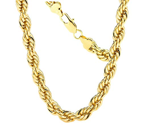 Gold Rope Chain 7MM, 24K Diamond Cut Fashion Jewelry Necklaces in Yellow Gold Over Semi Precious Metals, Hip Hop or Classic, 16-30 Inches USA Made! (24) ()