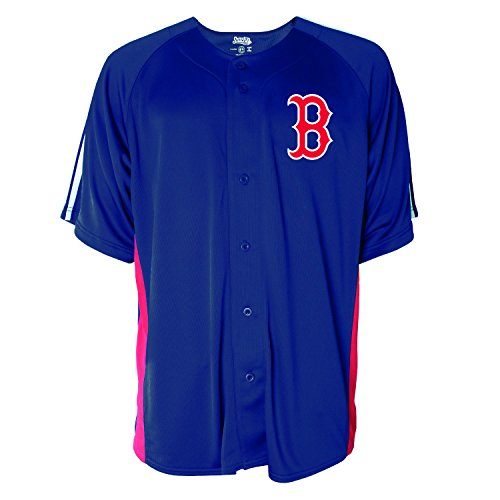 MLB Boston Red Sox Men's Button Down Fashion Jersey, Navy, XX-Large