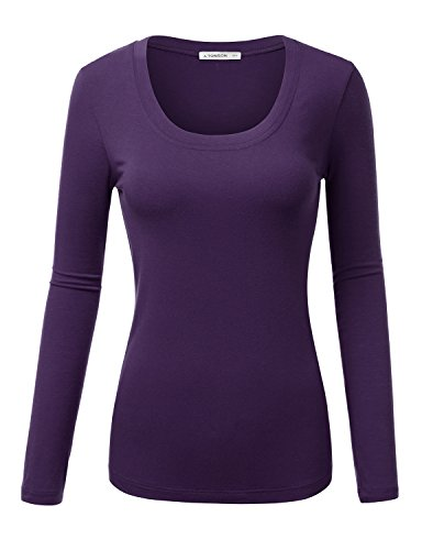 J.TOMSON Women's Basic V-Neck & Scoop Neck Slim Fit Long Sleeve T-Shirt DARKPURPLE (Girls Basic Scoop Neck Tee)