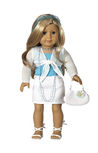 "Diana Collection Teal Top with White Skirt and Sandals. Complete outfit. Fits 18"" Dolls like American Girl"