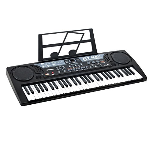 Plixio 61 Key Mid-Size Electric Piano Keyboard with USB & MP3 Input- Portable Electronic Music Keyboard - Electric Harp Guitar