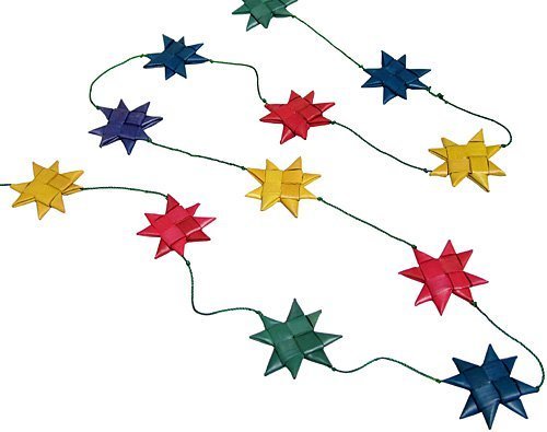 14-Foot Seasonal Woven Palm Leaf Garland String Decoration 'Multicolored Star - 1 Christmas Pier Garland