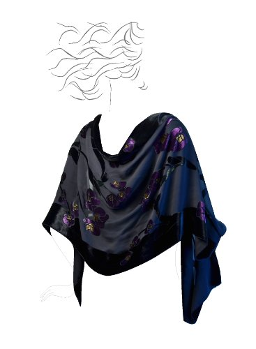 Based Burn out Velvet Orchid Purple green black product image