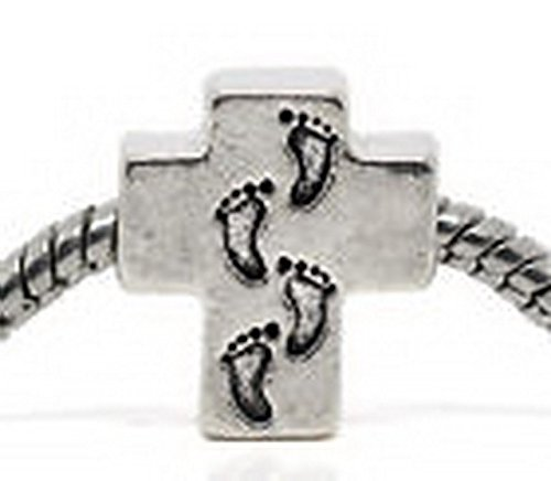 Beads Hut - Footprints In The Sand Cross Religious God Jesus Charm for Silver Euro - Sand Hut