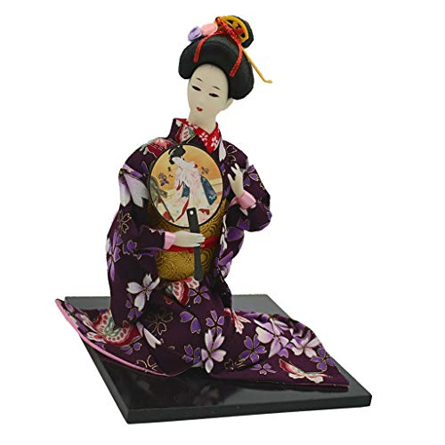 Fenteer 16'' Delicate Japanese Samurai Kimono Doll Geisha Oriental Doll Model Home Decoration Collection with Fan