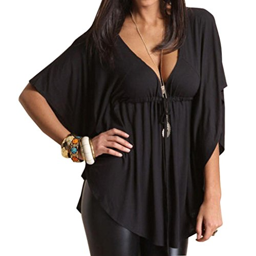 Clearance Sale! Women Shirts WEUIE Ladies Womens Sexy V-Neck Batwing Short Sleeve Tops Blouse T-Shirt Plus Size (XL, Black)