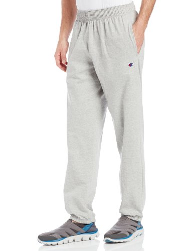 Champion Men's Closed Bottom Light Weight Jersey Sweatpant, Oxford Grey, Large