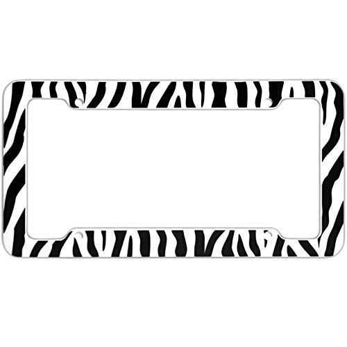 Motorup America Auto License Plate Frame Cover 2-Pack - Fits Select Vehicles Car Truck Van SUV - Wild White Zebra Print ()