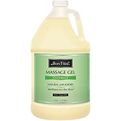 Bon Vital' Naturale Massage Gel Made with Natural Ingredients for Earth-Friendly & Relaxing Massage, Hypoallergenic Massage Gel for Sensitive Skin, Moisturizer Absorbs Like Lotion, 1 Gallon Bottle