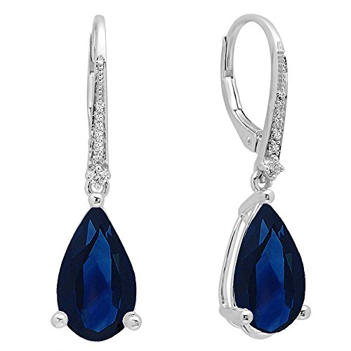 (10K White Gold 14X8 MM Each Pear Lab Created Blue Sapphire & Round Diamond Dangling Drop Earrings)