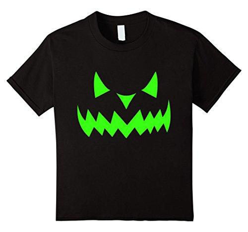 Kids Scary Face Halloween T-Shirt | Neon Green Acid Glow 12 (Really Scary Halloween Pumpkin Faces)