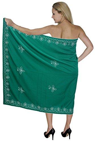 La Leela Rayon Frauen grün Strand Pareo und Rock Sarong 72x42 Zoll bestickt