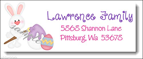 (tkniftylabel Easter Bunny Painting Eggs #74 Color Laser Address Labels)