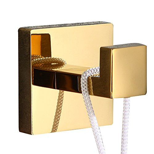 WINCASE 2 Pieces Robe Hook Towel Hook Clothes Hook Polished Gold finished, Wall Mounted Bathroom Accessories Solid Stainless Steel Construction by WINCASE (Image #8)