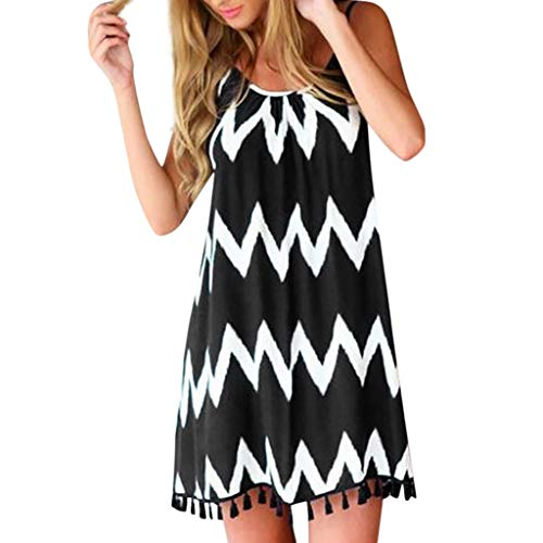 Sundresses for Women Casual Beach,SMALLE Women's Casual Spaghetti Strap Stripe Print Tassel Swing Dress Black