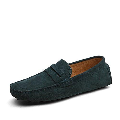 de conducción de Mo Zapatos suaves pisos de de Mocasines Mocasines de verano cuero de hombres los hombres los de Estilo genuino Green Bridfa Zapatos moda Ugnq5wTAx