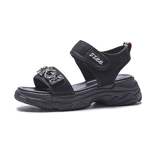Zapatos de Mujer PU Summer New Sandal Casual Mesh Transpirable de Malla Gruesa Zapatos Rhinestone Velcro Zapatos de Mujer Un