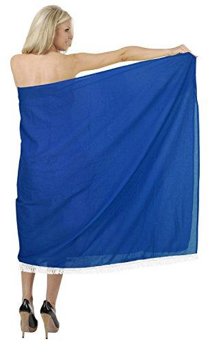 La Leela 100% de encaje vestido de crochet pareo de playa de algodón cubrir hasta 78x39 pulgadas oscura Azul