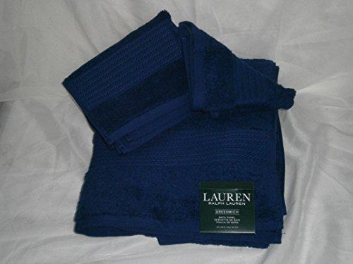 Ralph Lauren GREENWICH 3 piece Towel set MARINE BLUE (Dark Navy) 1 Bath, 1 Hand, 1 Washcloth