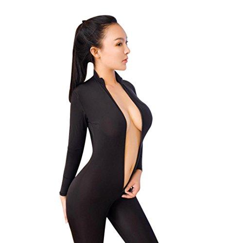 Ninasill Women Lingerie, ღ Hot Sale ღ ! Striped Bodysuit Zipper Long Sleeve Open Crotch Lingerie Jumpsuit (Black)